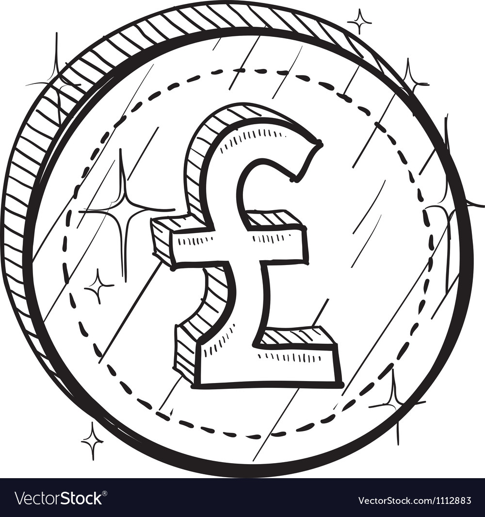 Doodle currency coin pound vector image
