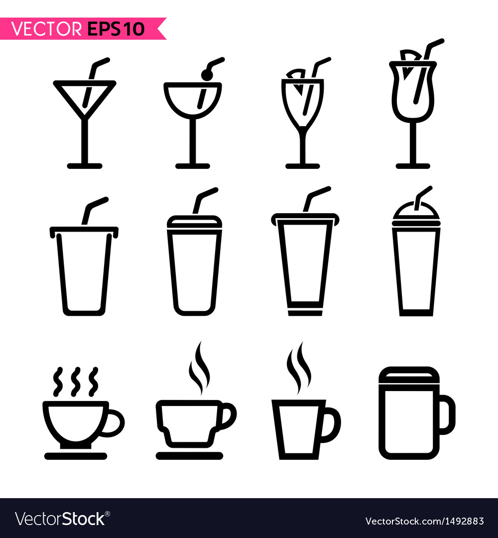 Glass and coffee cup icons vector image