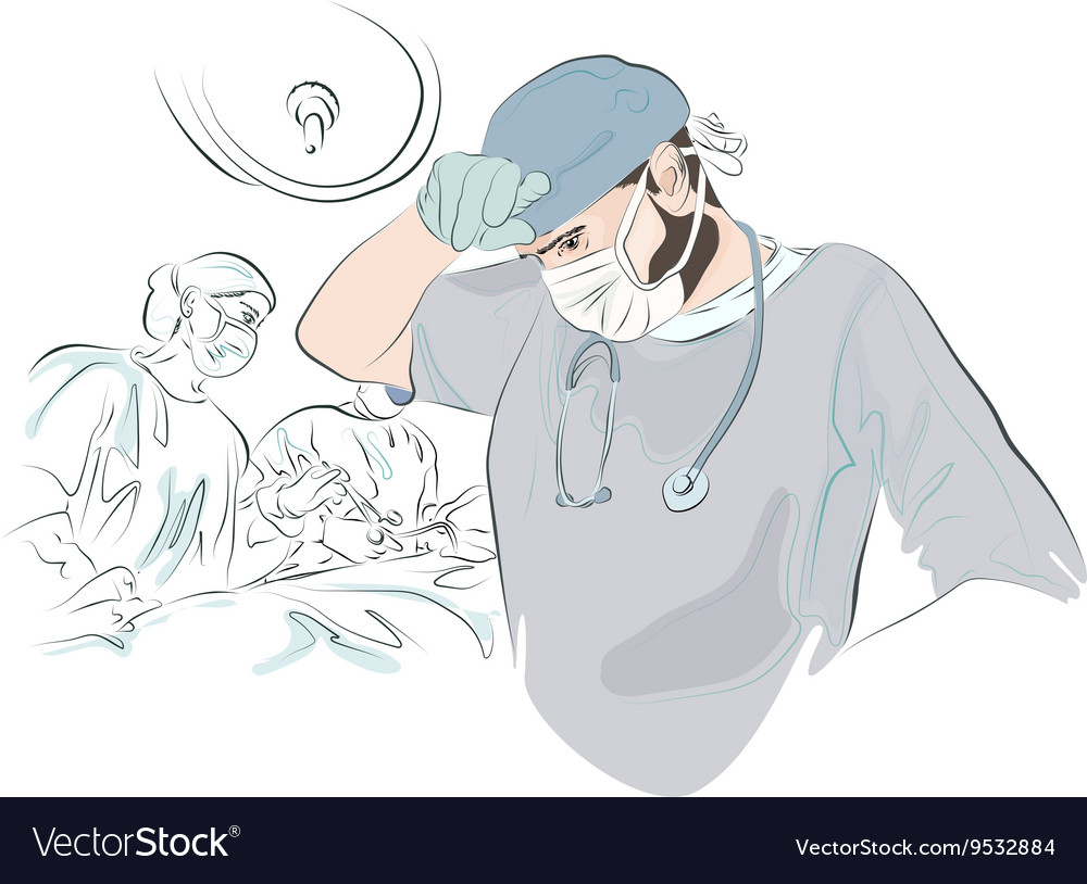 Surgeon after the operation vector image