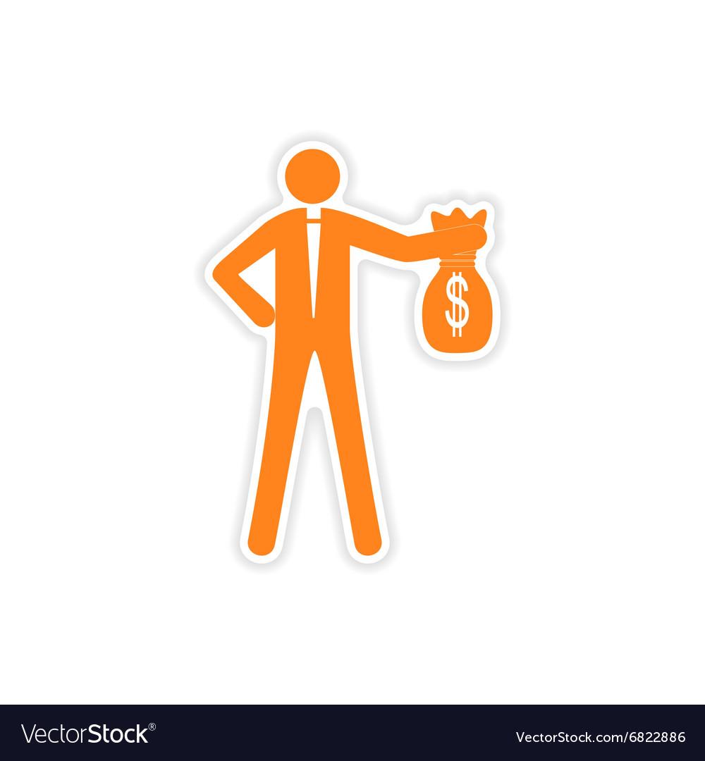 Stylish sticker on paper man with bag money