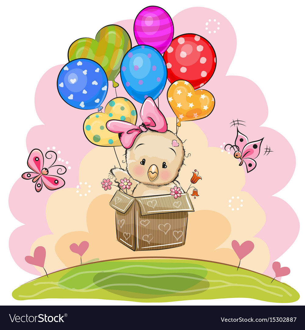 Cute chicken with balloons vector image