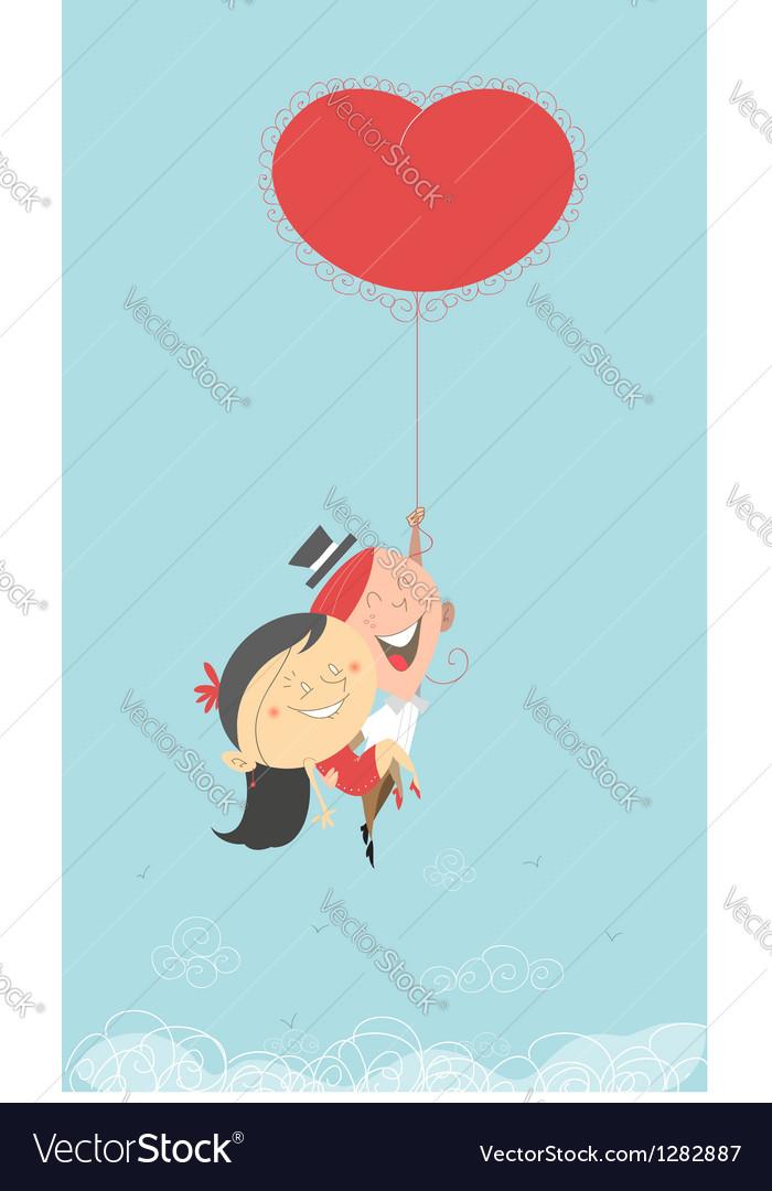 Flying heart balloon vector image
