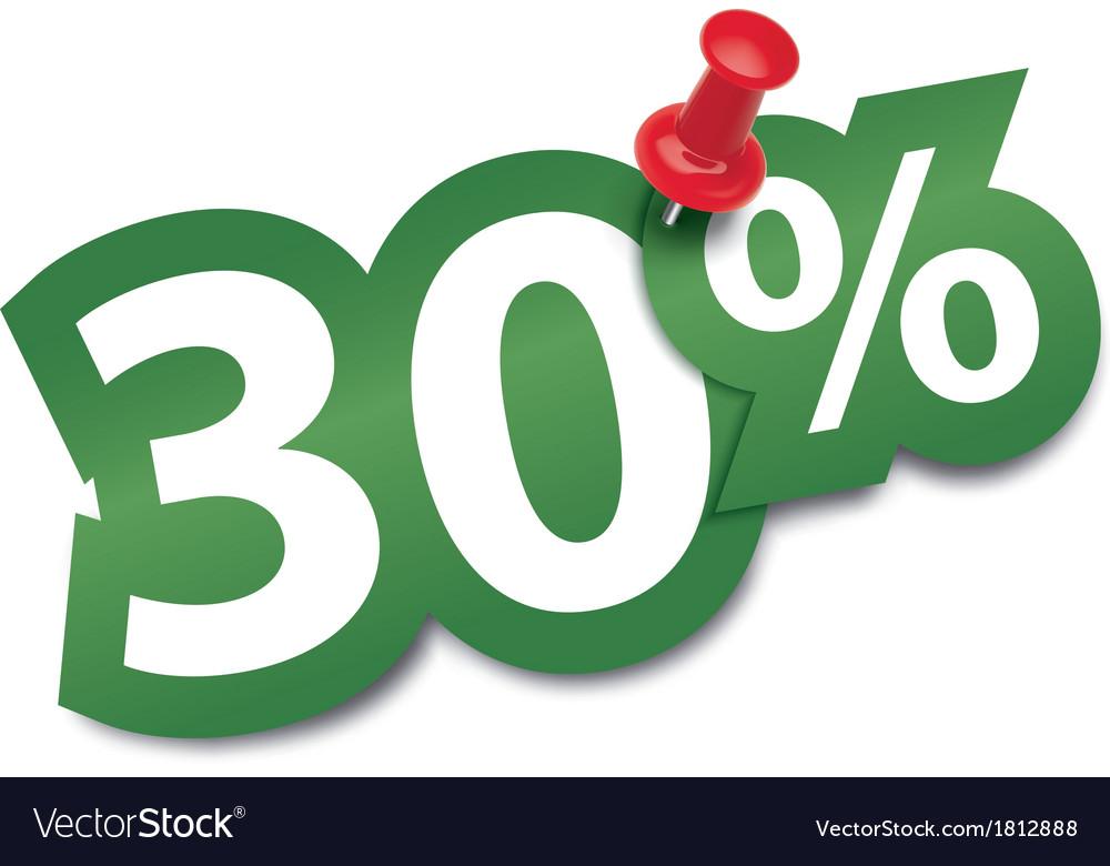 Thirty percent sticker vector image