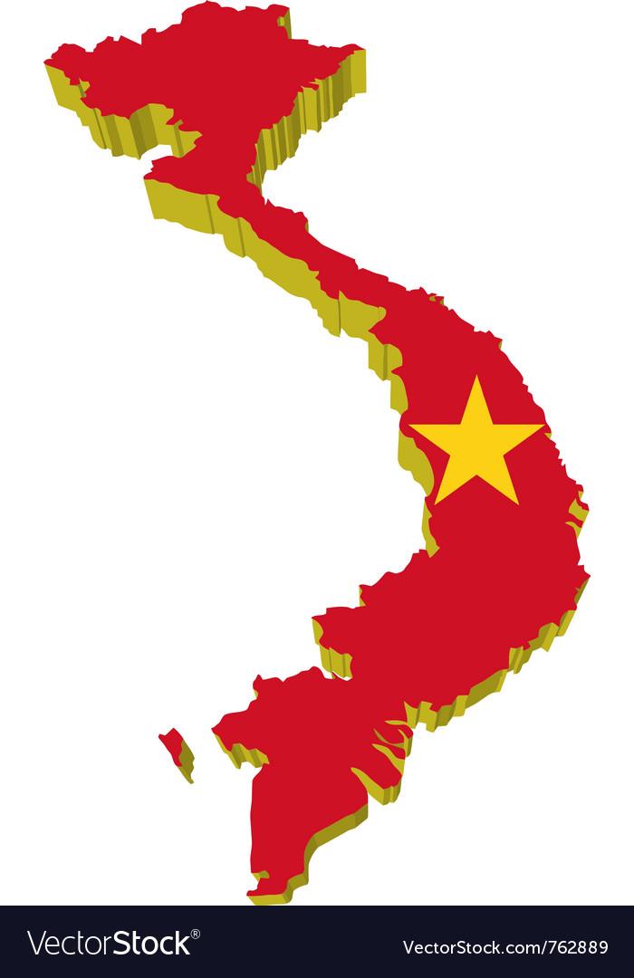 3d map of vietnam Royalty Free Vector Image VectorStock
