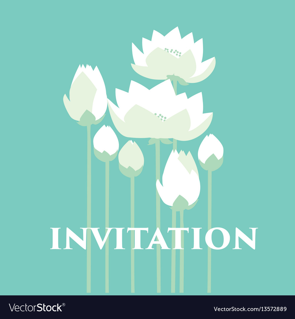 Tender elegant white water floral for invitation vector image