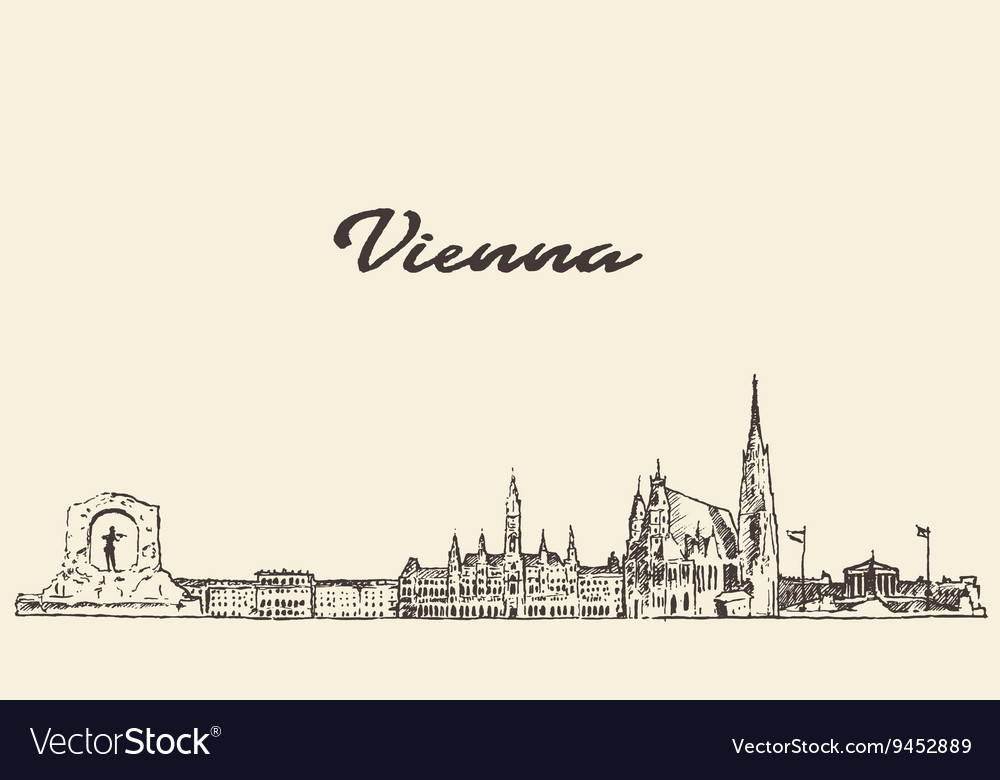 Vienna skyline Austria drawn sketch vector image