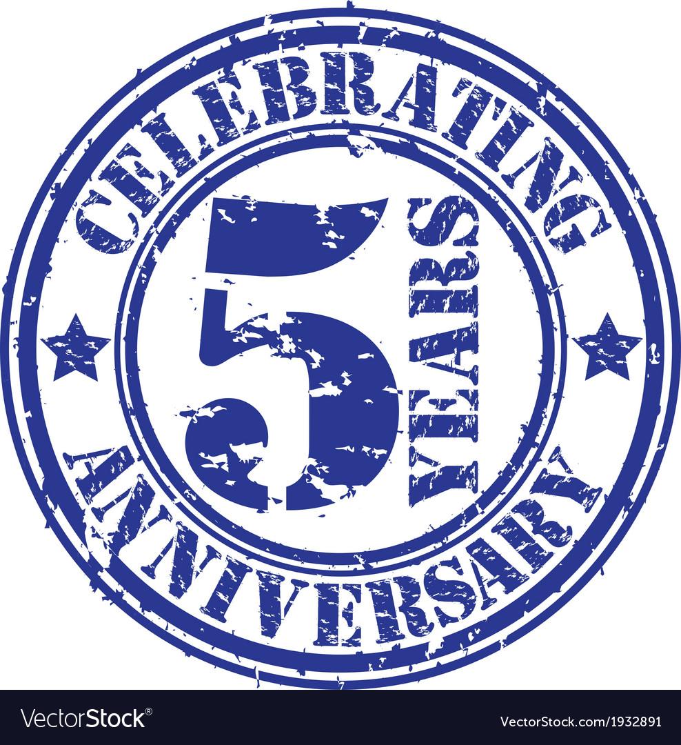 Celebrating 5 years anniversary grunge rubber sta vector image biocorpaavc Choice Image