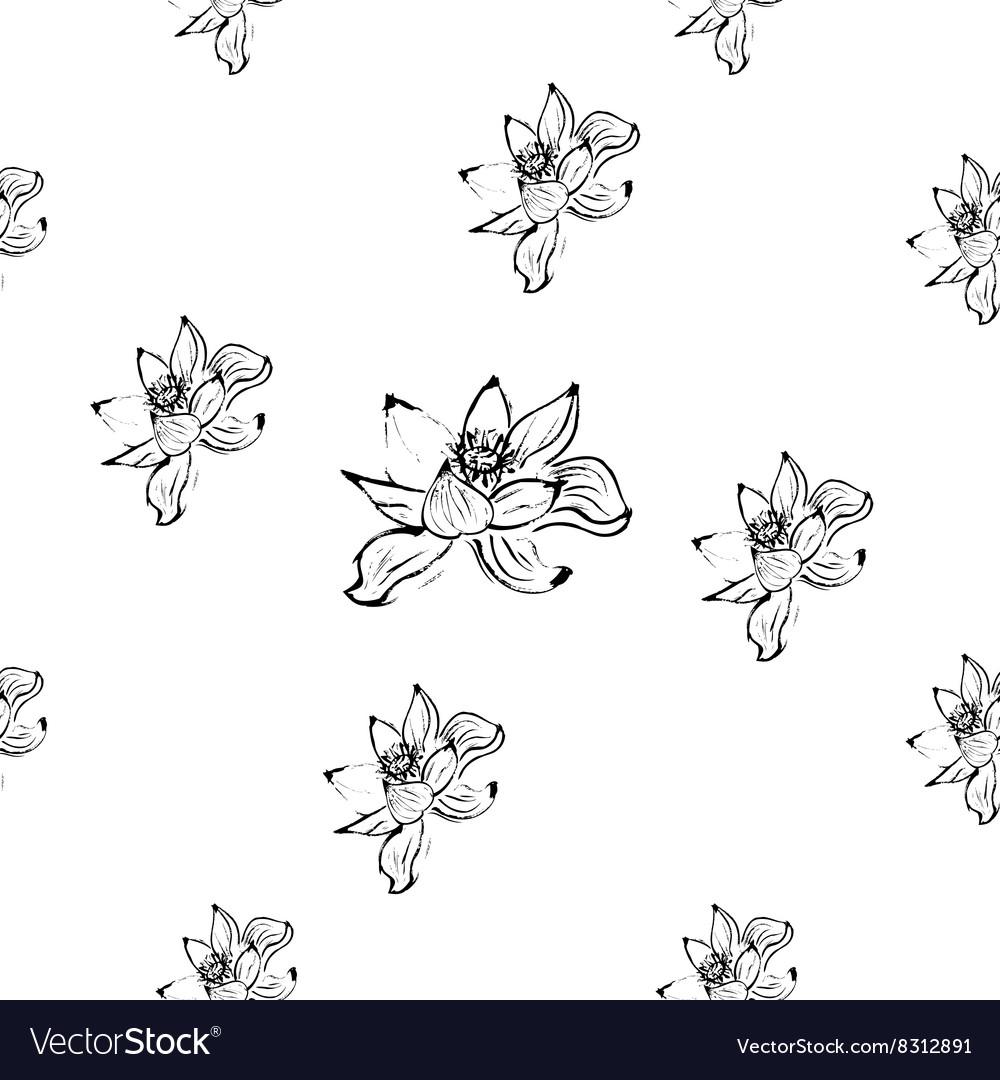 lotus ink hand drawn seamless pattern