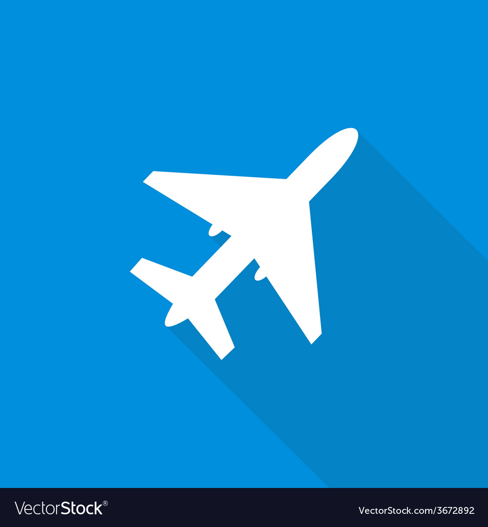 Air Plane Flat Design with Long Shadows vector image