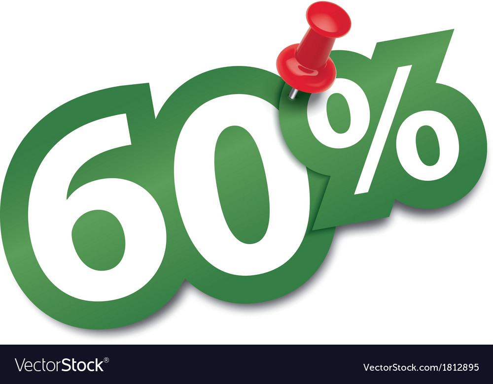 Sixty percent sticker vector image