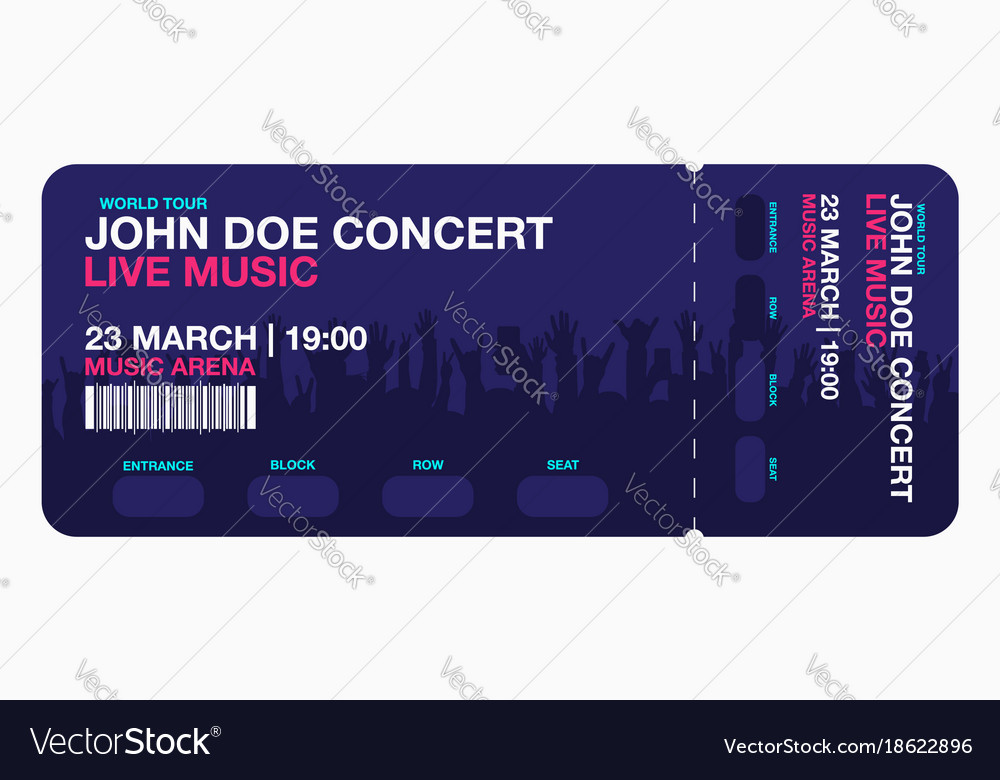 Concert Ticket Template Concert Party Or Festival Vector Image  Make Your Own Concert Tickets