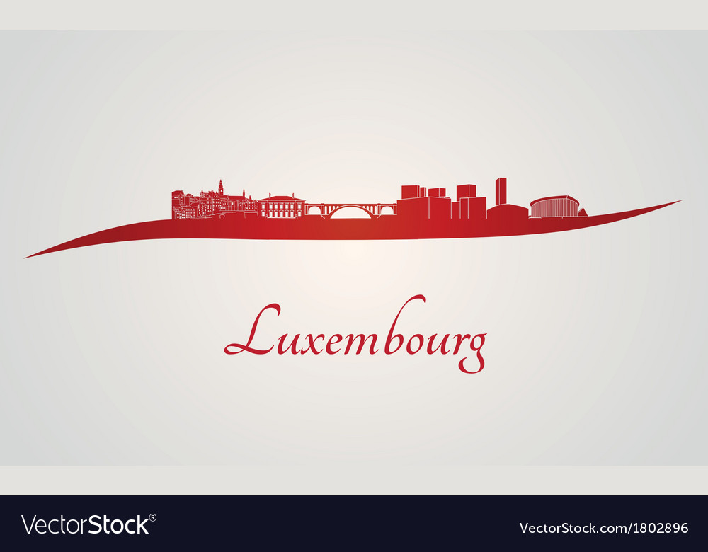 Luxembourg skyline in red vector image