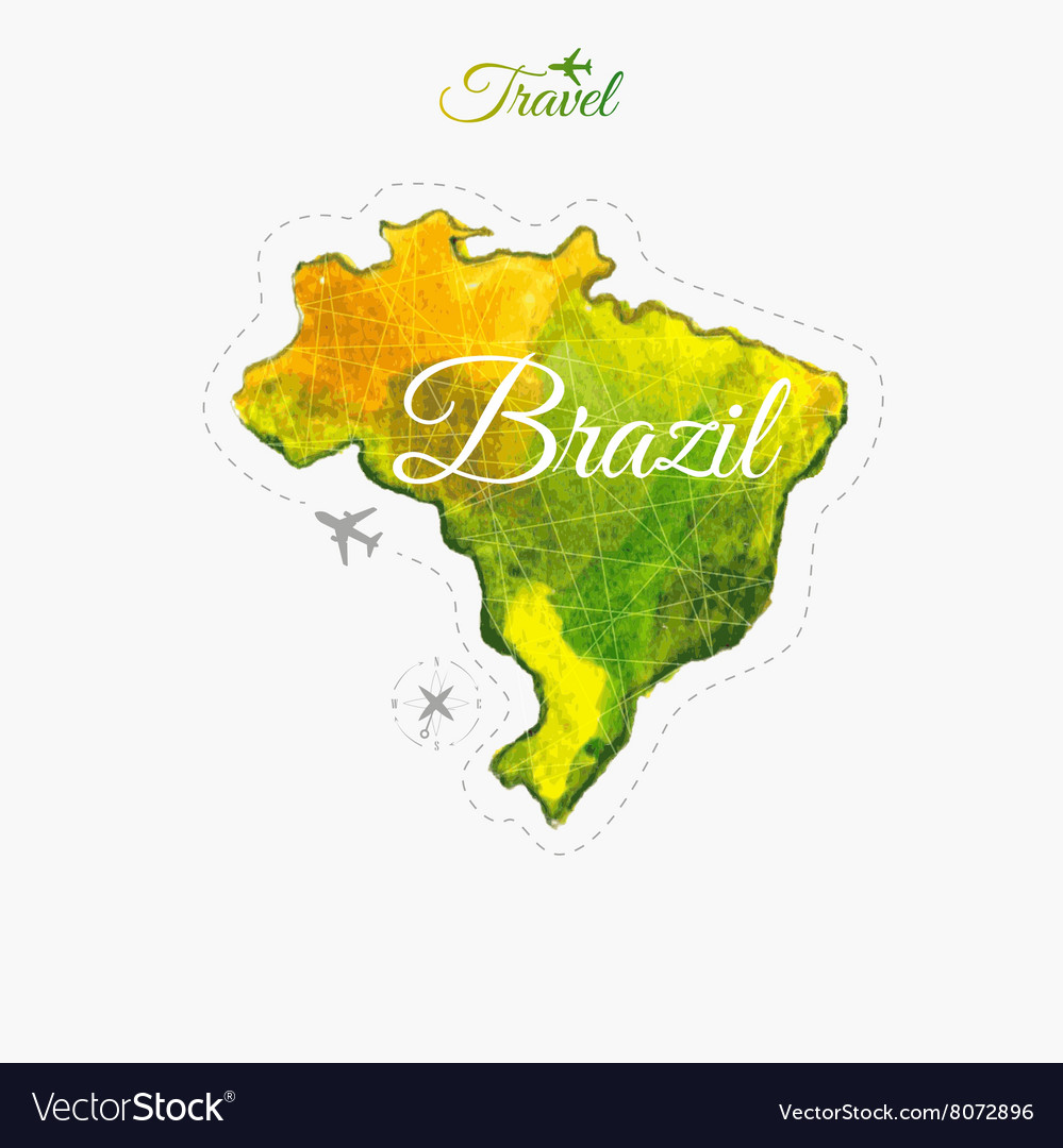 Travel around the world brazil watercolor map vector image gumiabroncs Choice Image
