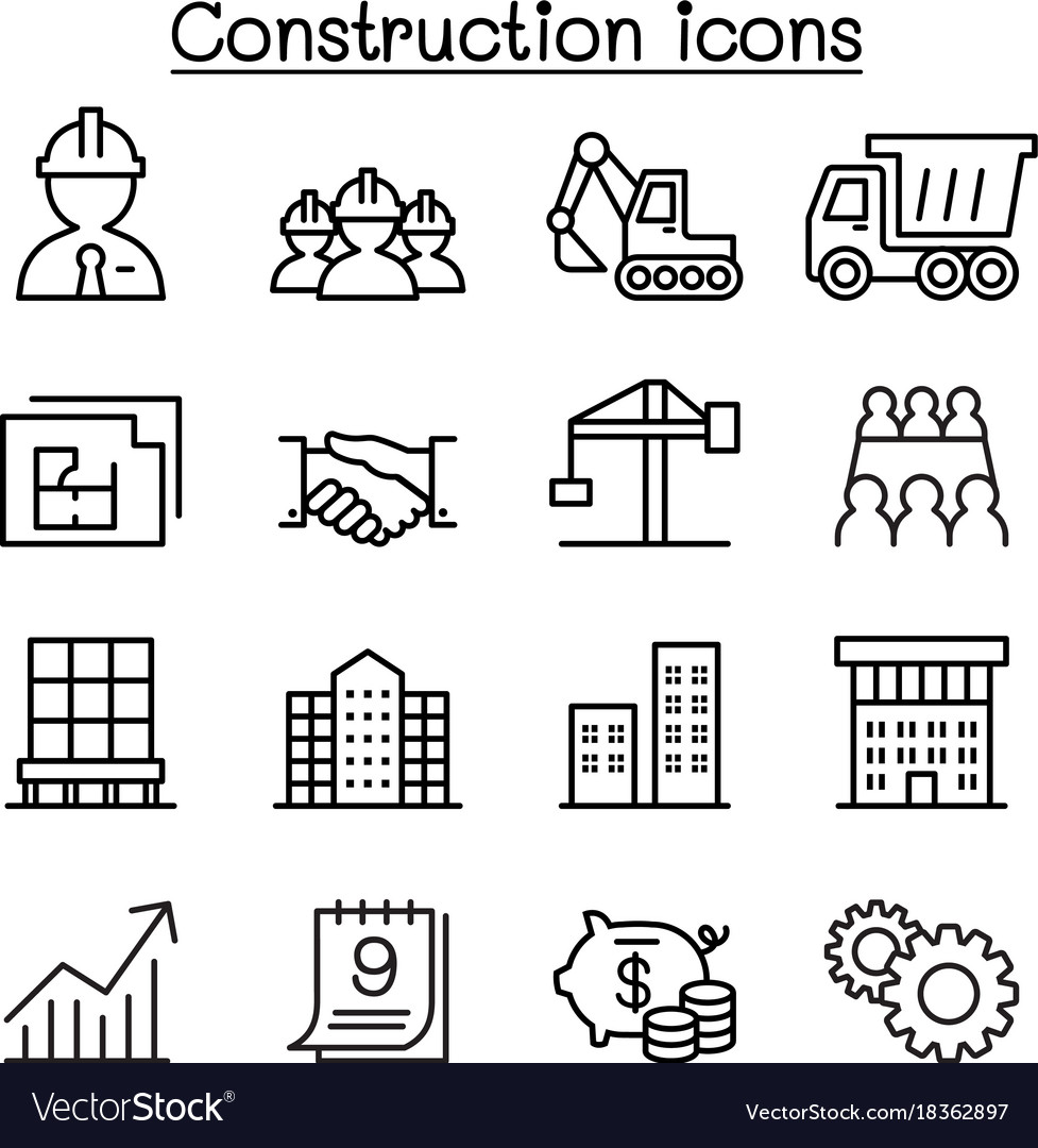 Construction icon set in thin line style vector image