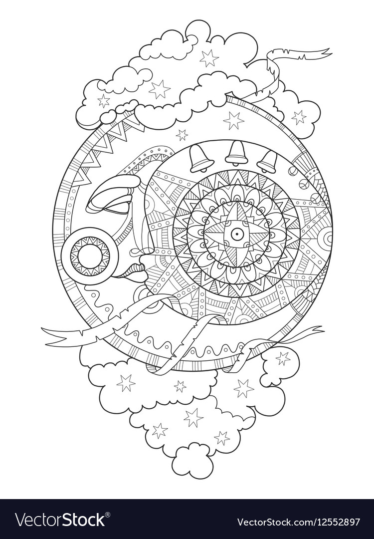 Moon with face coloring book vector image