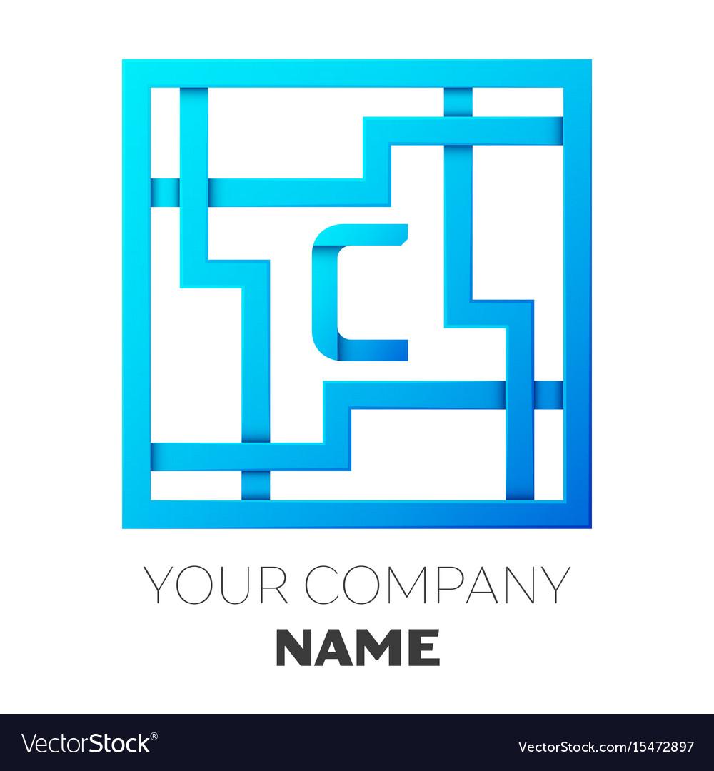 Realistic letter c logo in colorful square maze vector image