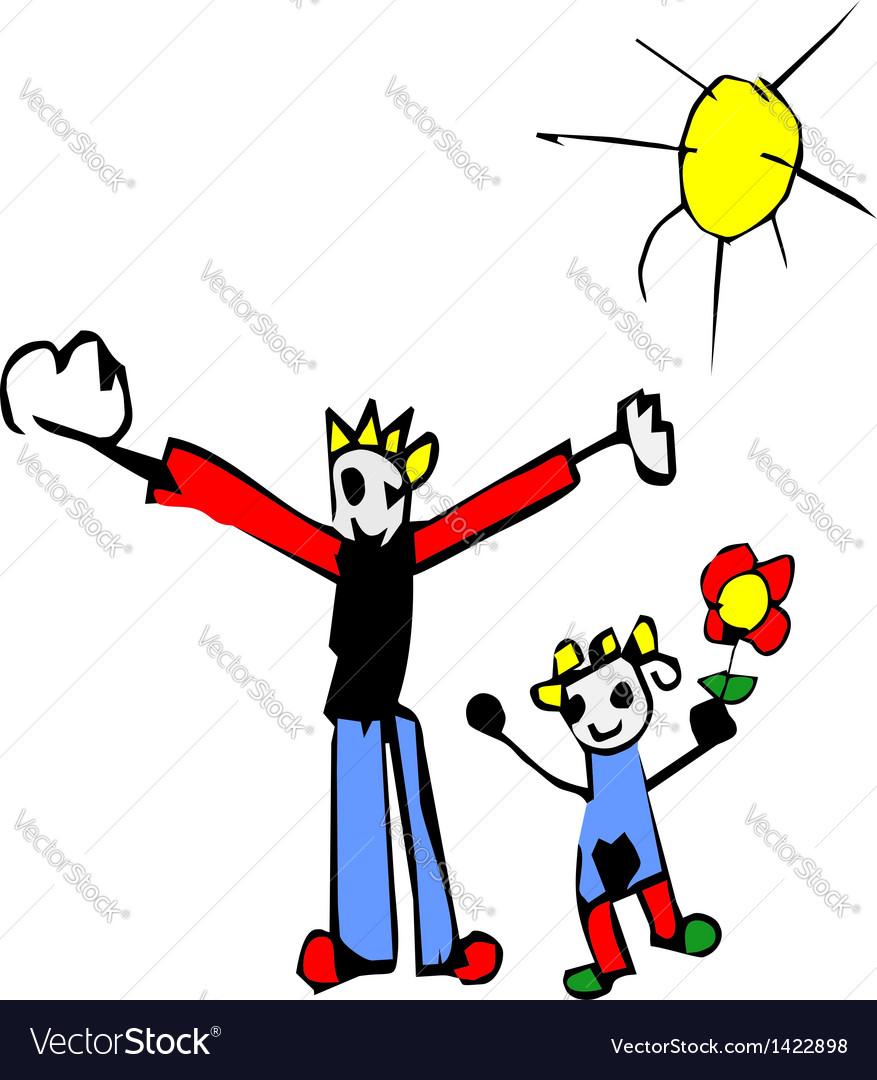 Kid father daughter drawing vector image