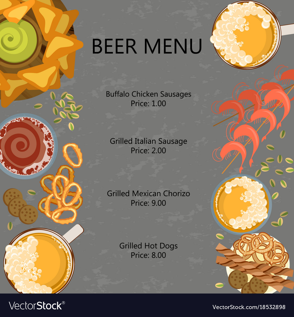 Menu template with beer vector image