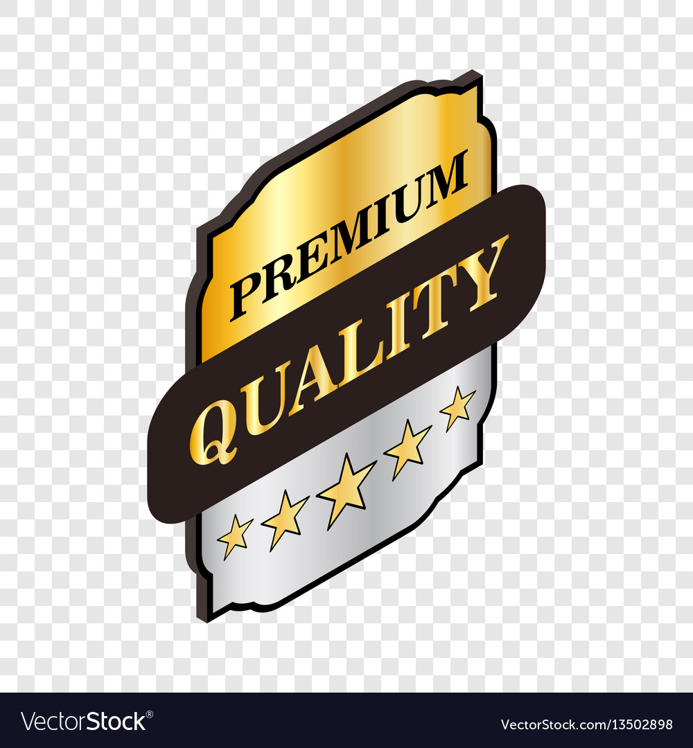 Square label premium quality isometric icon vector image