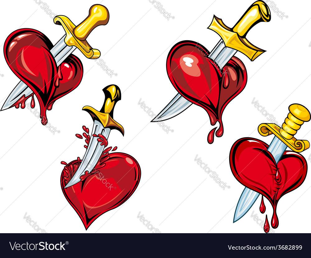 Cartoon heart with dagger tattoo design elements vector image