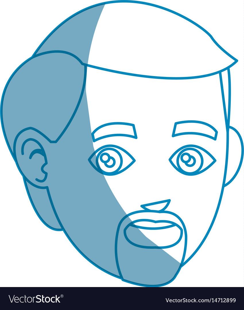 Head beard man character design vector image