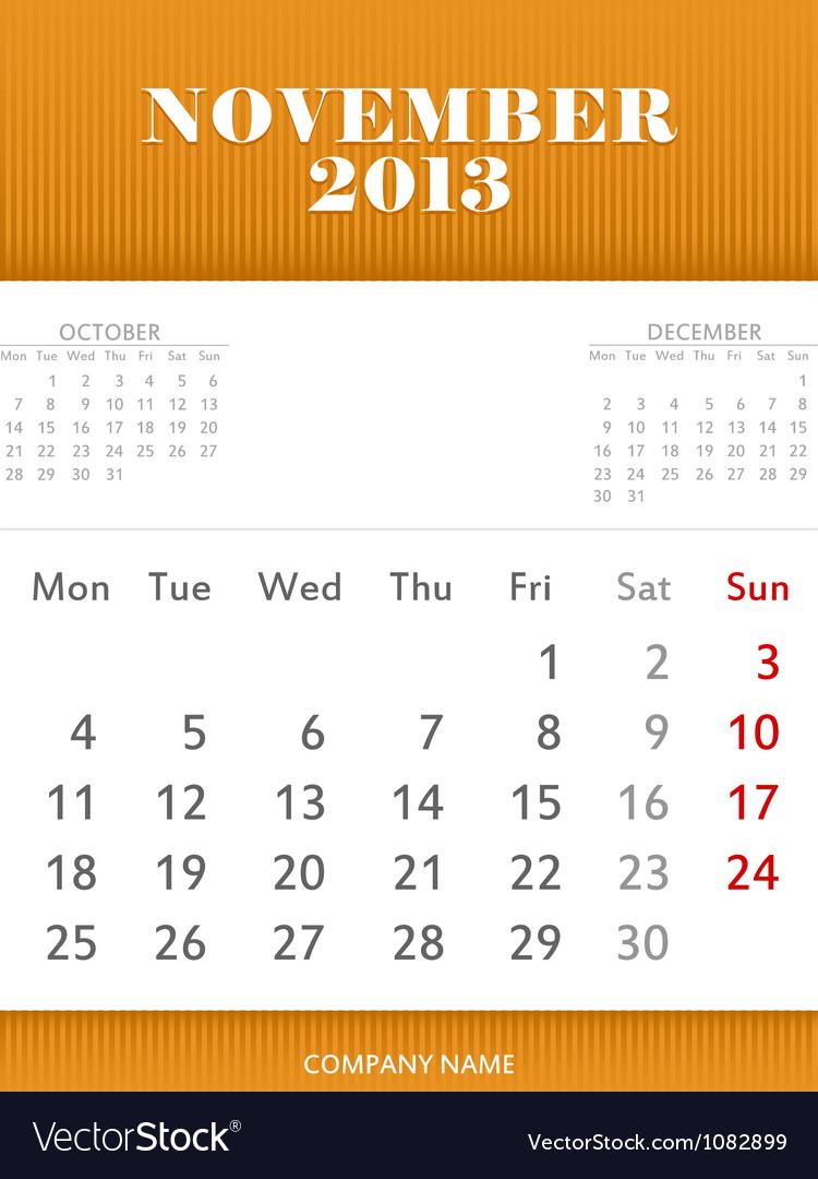 November Calendar Design : November calendar design royalty free vector image