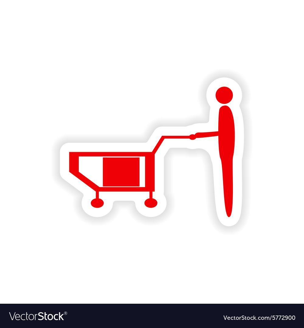 Icon sticker realistic design on paper loader