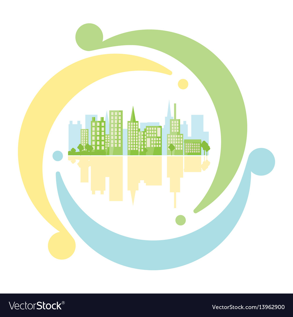 Green urban inside icon recycling in flat style vector image