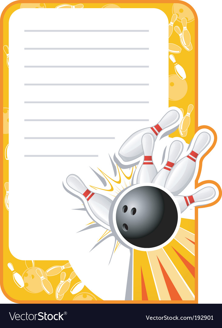Blank bowling invitation vector image