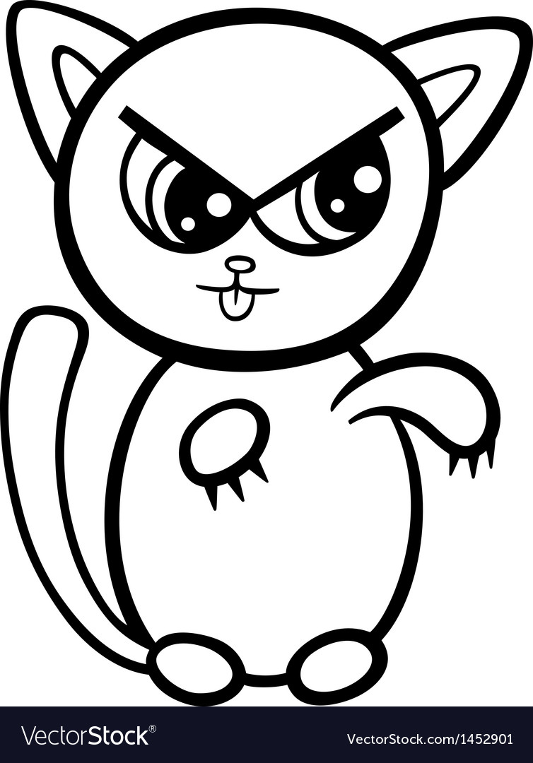 cartoon kawaii kitten coloring page royalty free vector