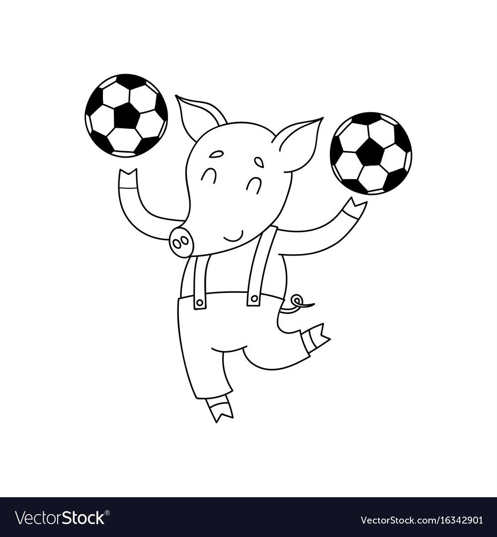 Cheerful pig with balls cartoon happy vector image