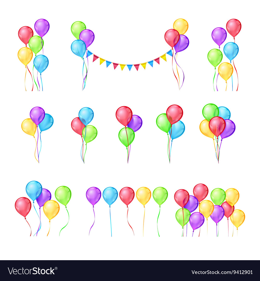 Color balloons set vector image