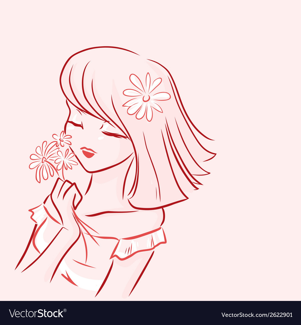 Girl and daisy vector image