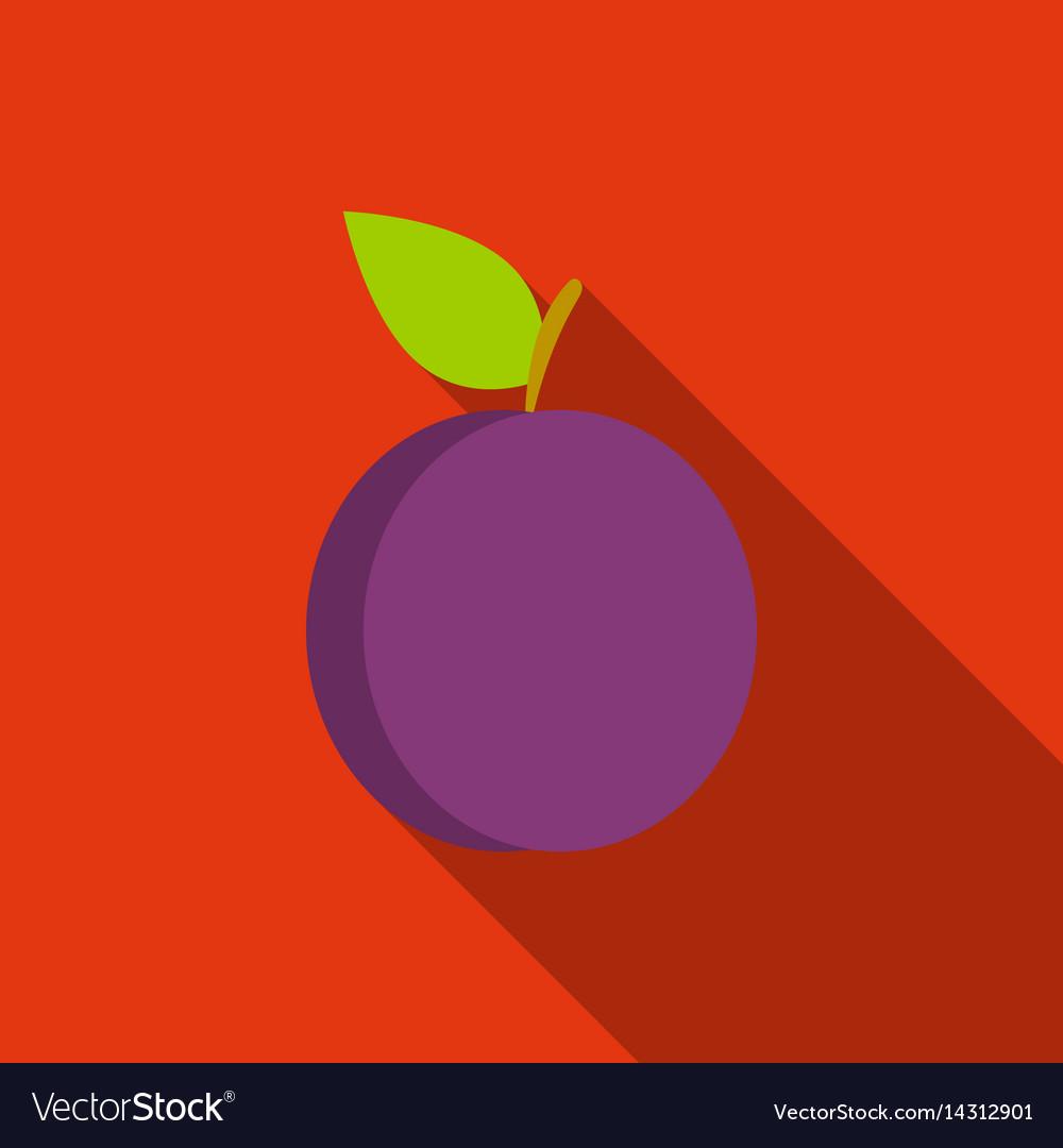 Plum icon flat singe fruit icon vector image