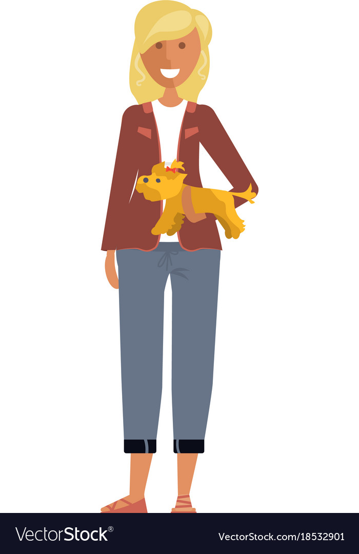 Woman with her dog vector image