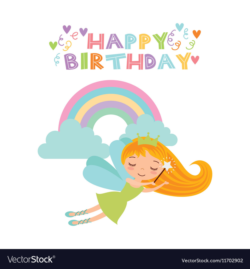 Fairy birthday card royalty free vector image vectorstock fairy birthday card vector image bookmarktalkfo Image collections