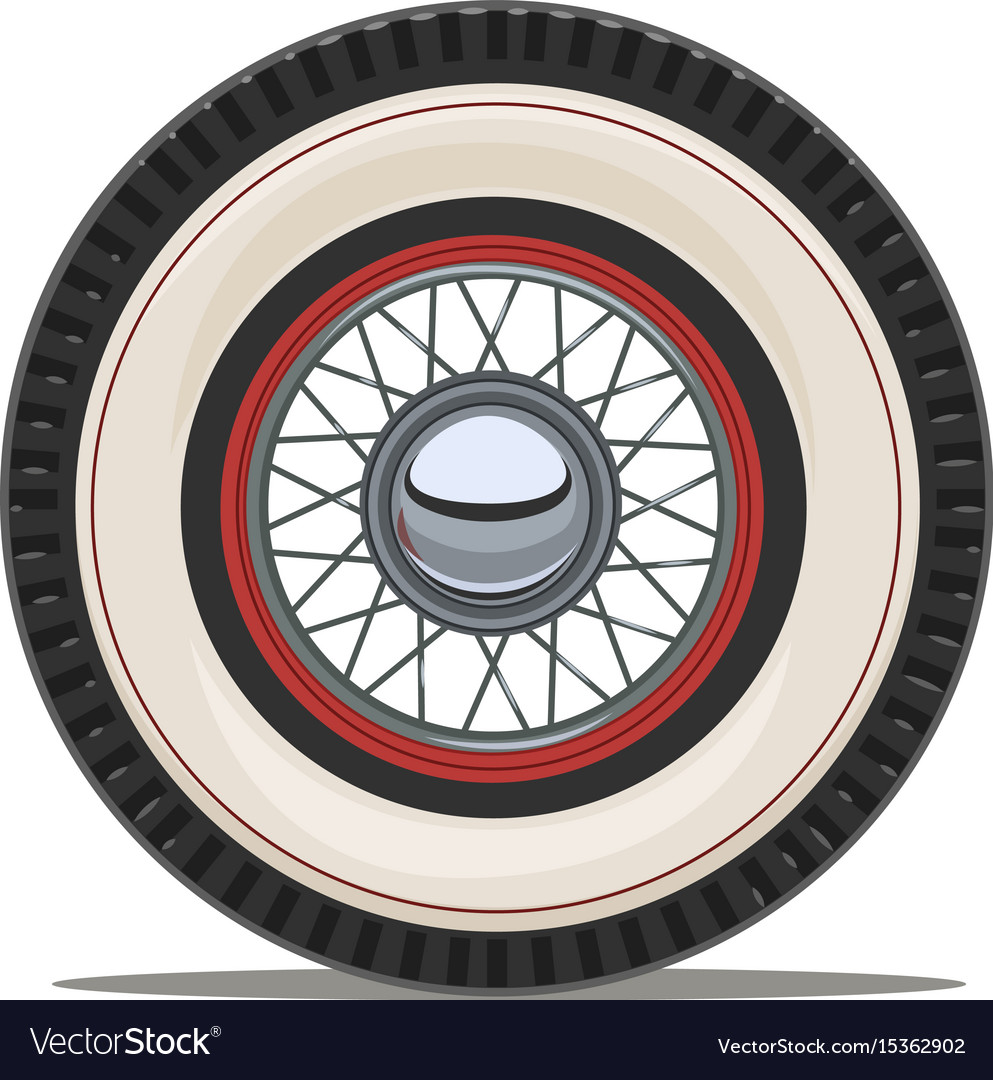 Vintage car wheel with spoke Royalty Free Vector Image