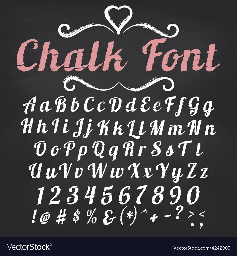 Alphabet Chalk font on blackboard vector image
