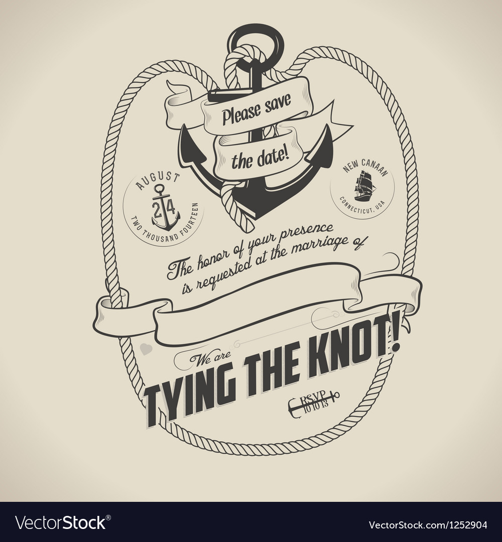 Vintage nautical themed wedding invitation vector image
