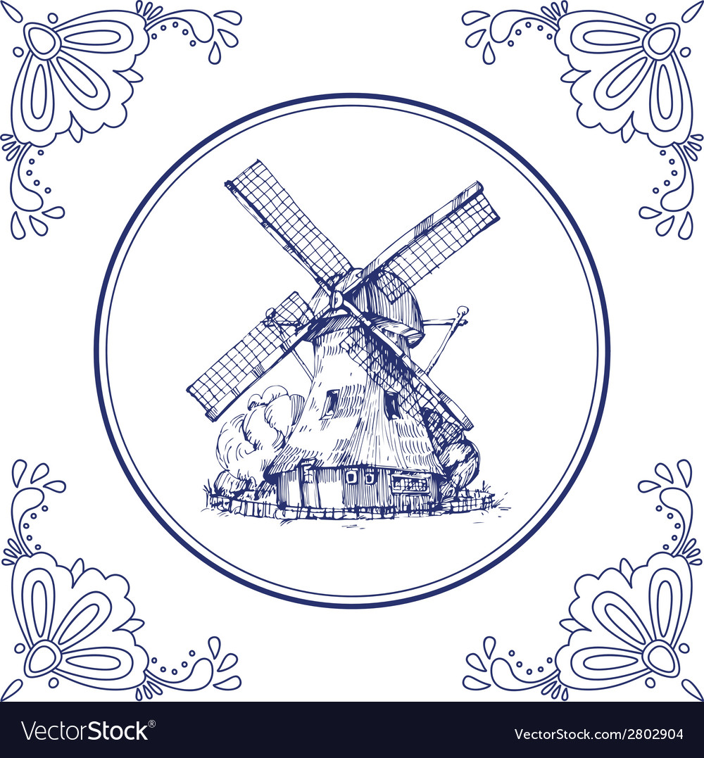 Dutch mill vector image