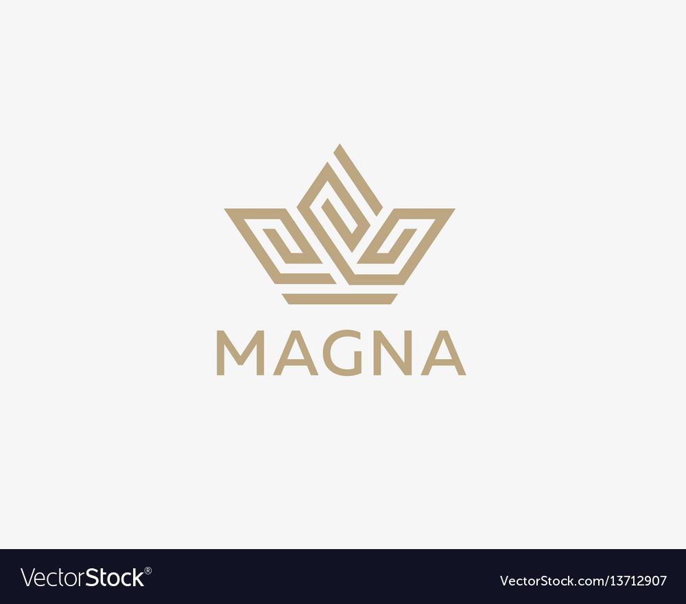 Crown flower logo icon design premium vector image