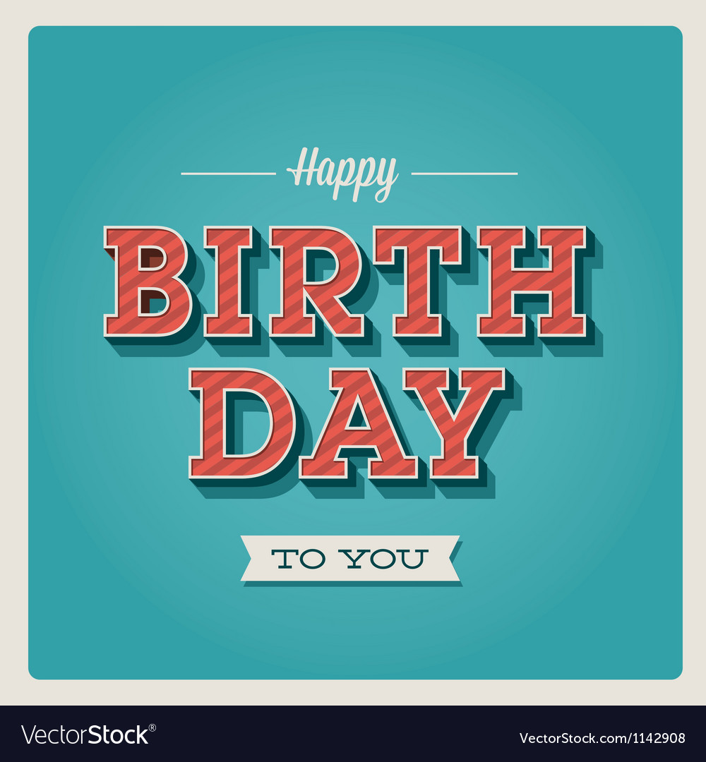 Happy birthday card font type vector image