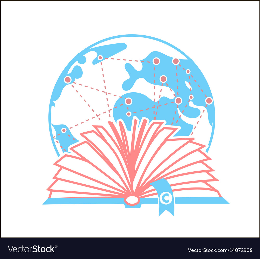 Concept books and copyright day vector image