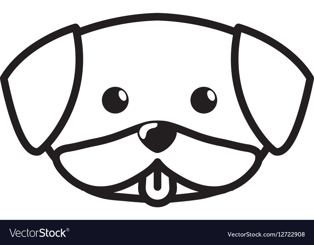 Face dog cute tongue out outline Royalty Free Vector Image - photo#8