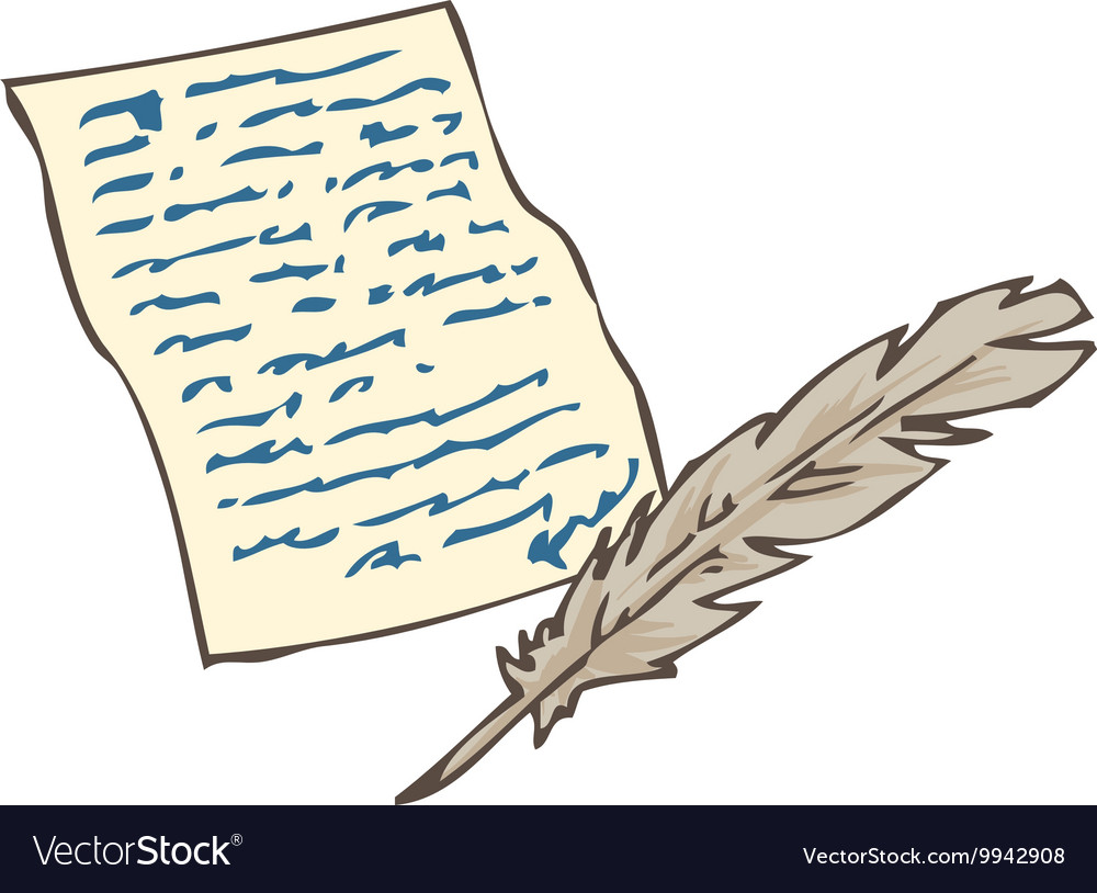Vintage Handwritten Page with Quill Pen vector image
