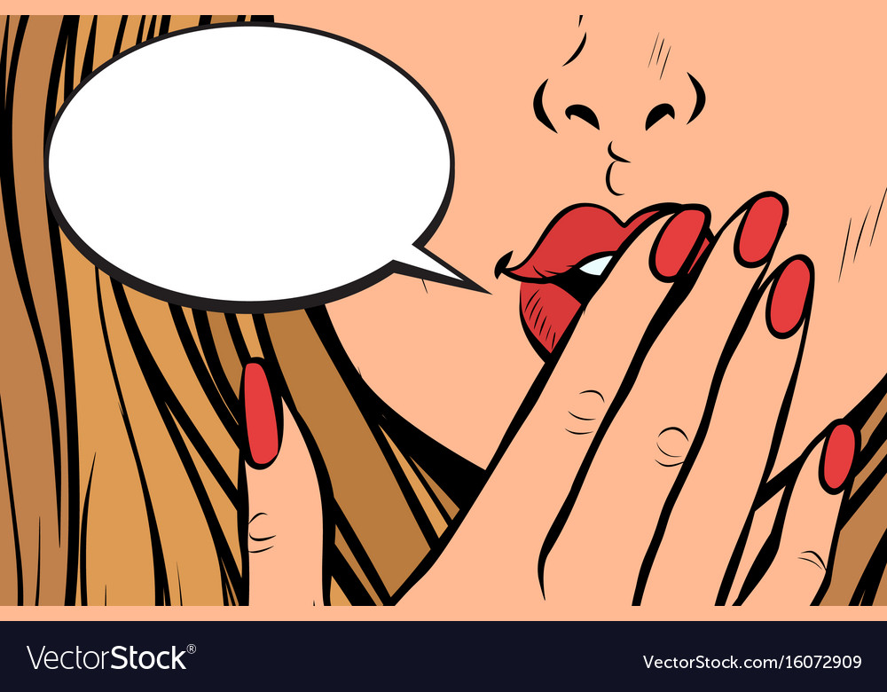 Comic bubble closeup of female hand closed mouth vector image