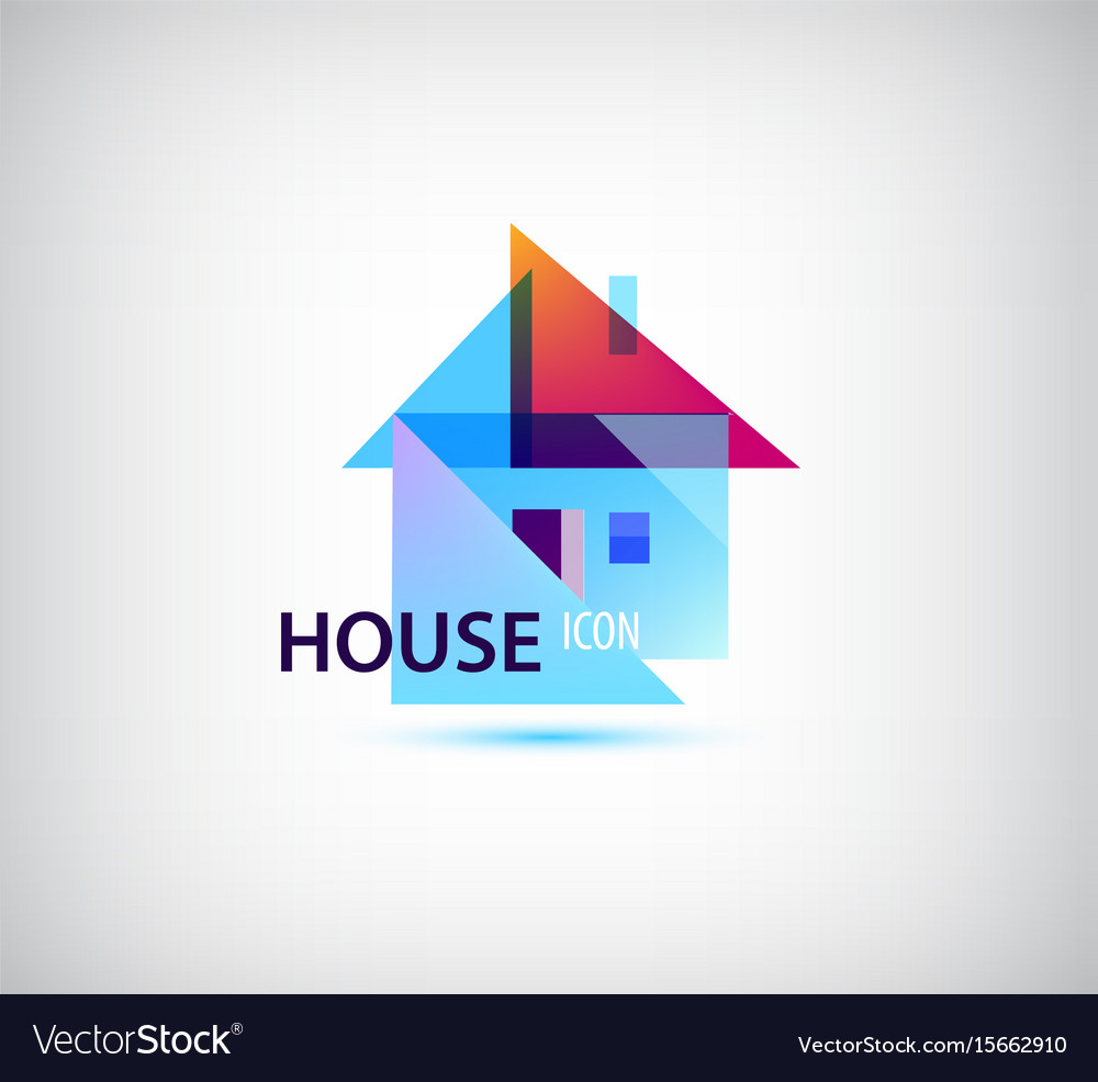 Faceted geometric house abstract building vector image