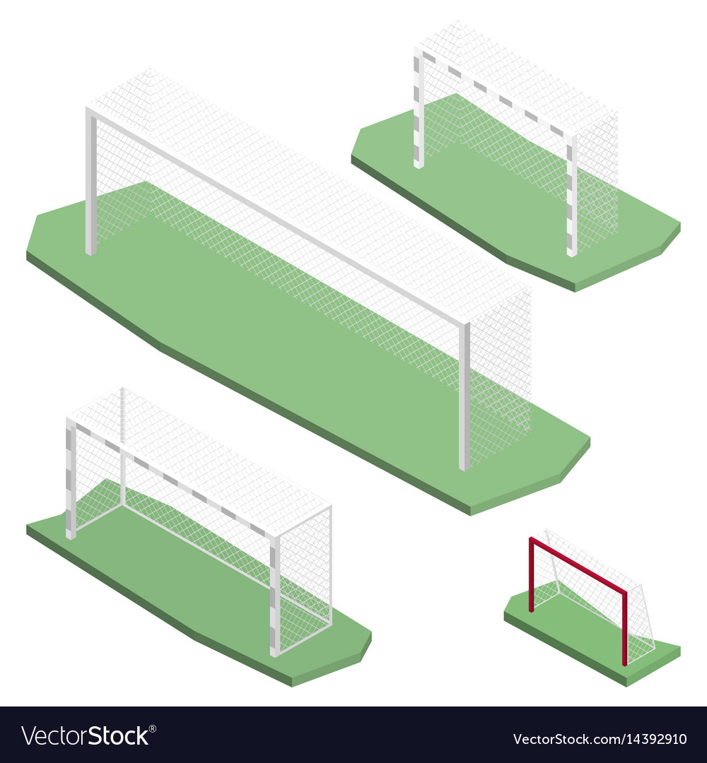 Gate for playing soccer in isometric vector image