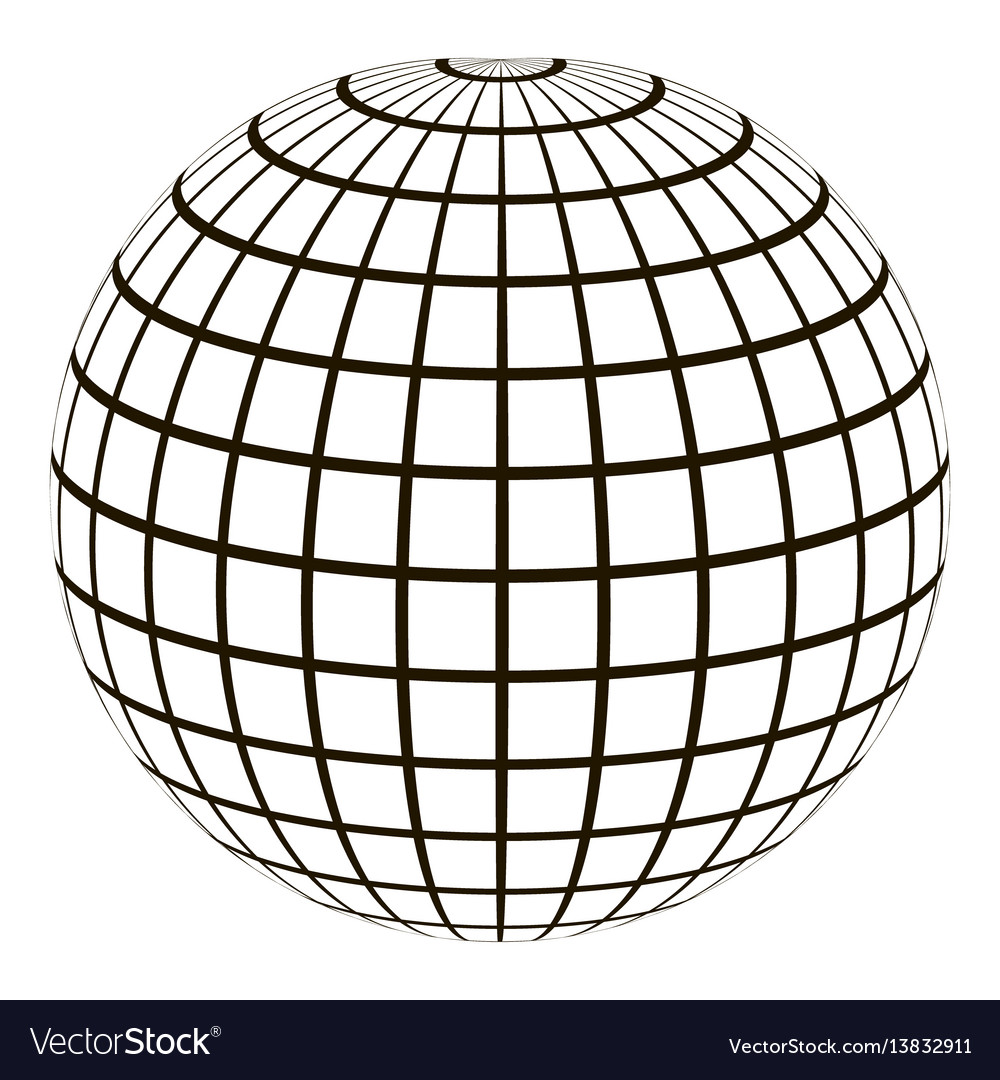 3d globe with a coordinate grid meridian and vector image