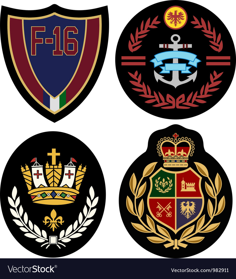 Royal badge design set vector image